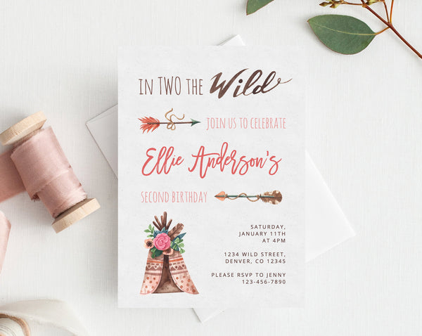 Instant Download Invitation Template In Two The Wild Birthday Two Wild Second Birthday Invitation Baby Girl Birthday Party Idea Templett