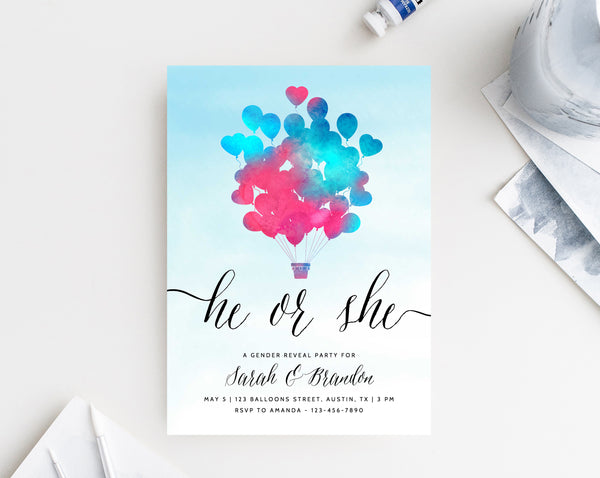 INSTANT DOWNLOAD Gender Reveal Party Invitation, Printable Gender Reveal, Boy or Girl, He or She Invitations, Pink or Blue, Templett