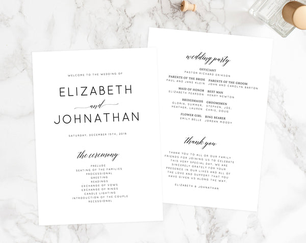 INSTANT DOWNLOAD Wedding Program Template, Printable Wedding Program, Simple Wedding Program, Editable Ceremony Programs, Templett, W02