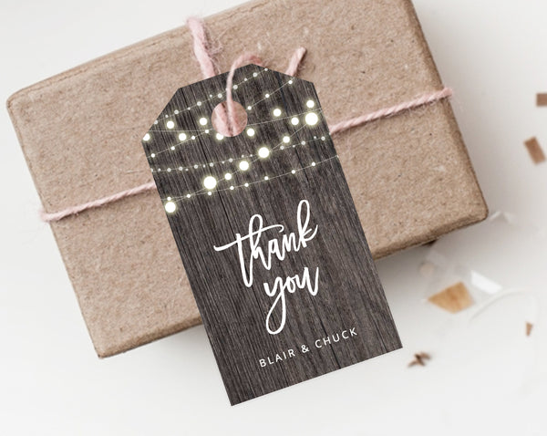 INSTANT DOWNLOAD Favor Tags, Thank You Tag, Rustic Wedding Favor Tag, Wood Gift Tag, Lights Favor Label, Favor Tag Printable, Templett, W01
