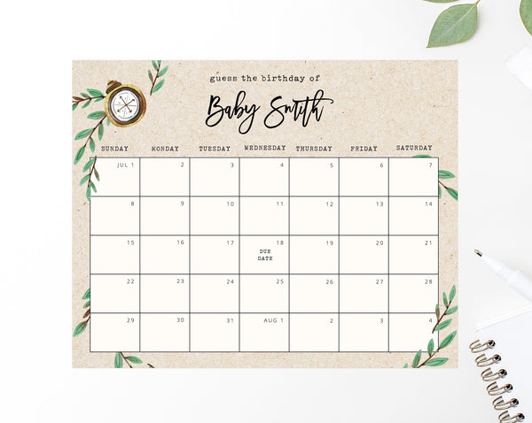 graphic about Baby Printable identify Because of Day Calendar Template, Journey Awaits Boy or girl Shower Calendar, Child Thanks Day Video game, Printable Bet The Because of Day, Predictions, Templett