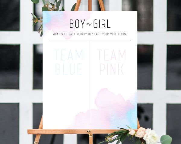 Gender Reveal Sign Template, Boy or Girl Chart, Gender Reveal Decor, Gender Reveal Banner, Blue or Pink Chart Sign Printable, Templett, B01