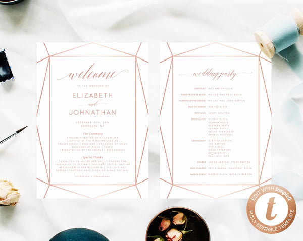 INSTANT DOWNLOAD Wedding Program Template, Printable Wedding Program, Editable Wedding Programs, Rose Gold Pattern Template, Templett, W08