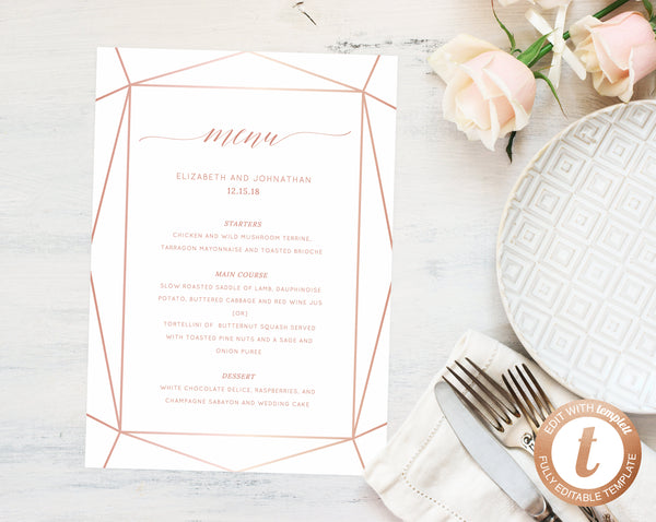 Wedding Menu Template.Wedding Menu Template Printable Wedding Menu Editable Wedding Menu Diy Wedding Menu Rose Gold Templett W08