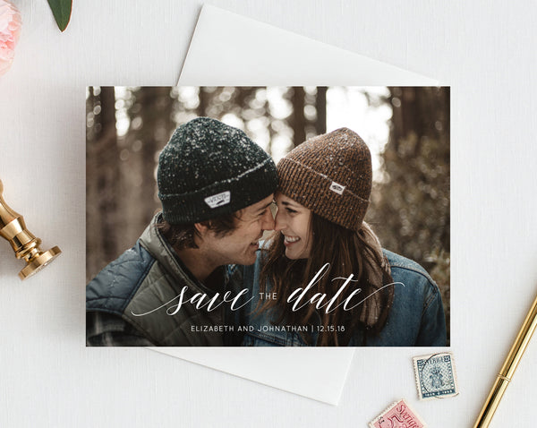 INSTANT DOWNLOAD Save the Date Template, Save the Date with Pictures Template, Engagement Photo Save the Date Card, Templett, W02 W08