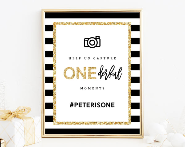 INSTANT DOWNLOAD Mr. Onederful Hashtag Sign Template, Onederful Sign Printable, One-derful Birthday Party Photo Signs, Templett, B02