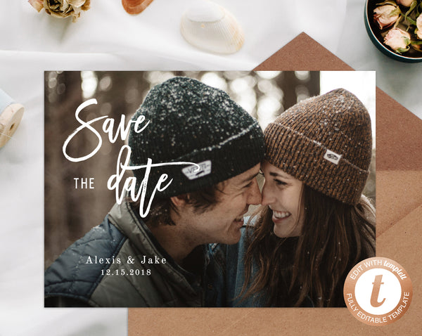 INSTANT DOWNLOAD Save the Date, Save the Date with Pictures Template, Save the Date Photo Card, Engagement Photo Save the Dates, Templett