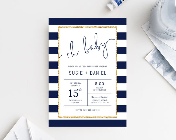 Navy Baby Shower Invitation Template, Navy and Gold Baby Shower Invite, Navy Stripes Invitation Printable, Instant Download, Templett, B03