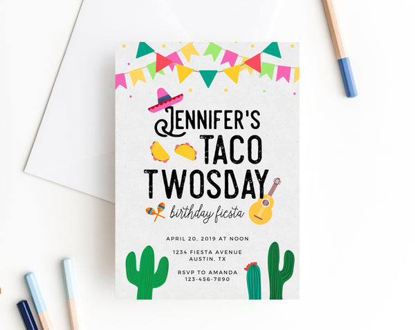 Taco Twosday Invitation Template, Taco Twosday Themed Party Invitation Printable, Mexican Themed Party, 2nd Birthday Fiesta, Templett
