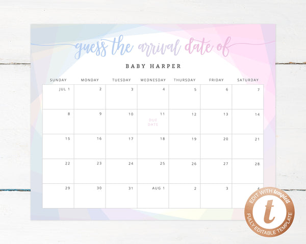 picture regarding Printable Pregnancy Calendar named Thanks Day Calendar Template, Kid Shower Calendar, Youngster Owing Day Match, Printable Little one Birthday Predictions, Bet The Owing Day, Templett