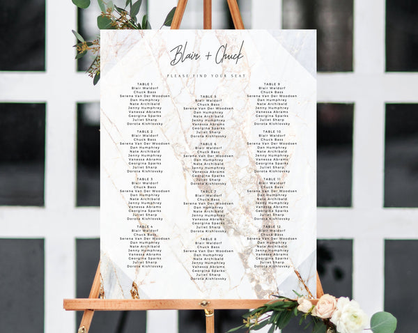 INSTANT DOWNLOAD Wedding Seating Chart, Marble Seating Chart Printable, Wedding Seating Board, Marble Table Chart Sign, Templett, W03
