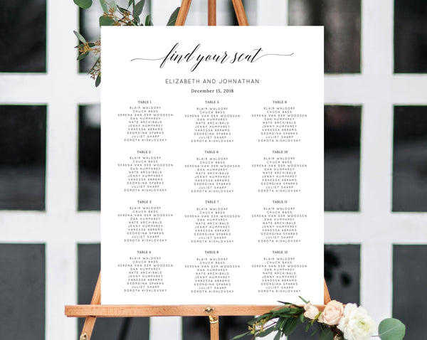 INSTANT DOWNLOAD Wedding Seating Chart, Seating Chart Printable, Seating Chart Template, Seating Board, Wedding Sign, Templett, W02