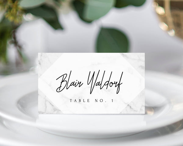 INSTANT DOWNLOAD Wedding Place Cards, Marble Printable Wedding Place Card, Marble Wedding Name Cards Template, DIY Table, Templett, W07
