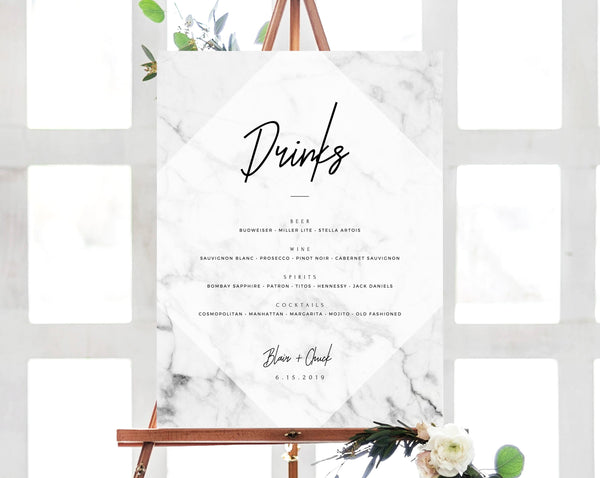 INSTANT DOWNLOAD Bar Menu Sign, Marble Wedding Bar Sign, Wedding Bar Menu Printable, Marble Drink Menu Sign, Decoration, Templett, W07
