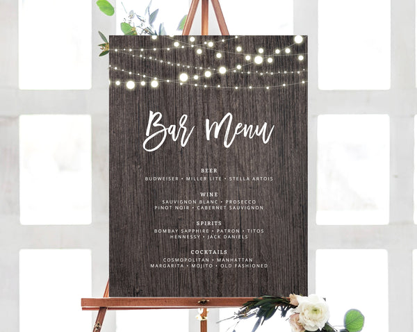 INSTANT DOWNLOAD Bar Menu Sign, Rustic Wedding Bar Sign, Wedding Bar Menu Printable, Wood Drink Menu Sign, Reception Ideas, Templett, W01