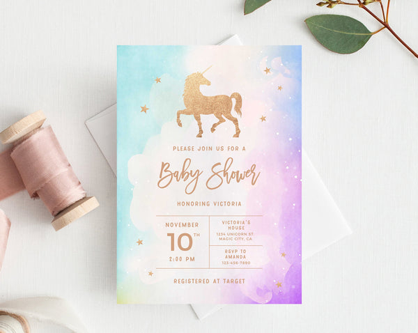 INSTANT DOWNLOAD Baby Shower Invitation Template, Printable Baby Shower, Unicorn Baby Shower, Gold Unicorn Birthday Invitation, Templett
