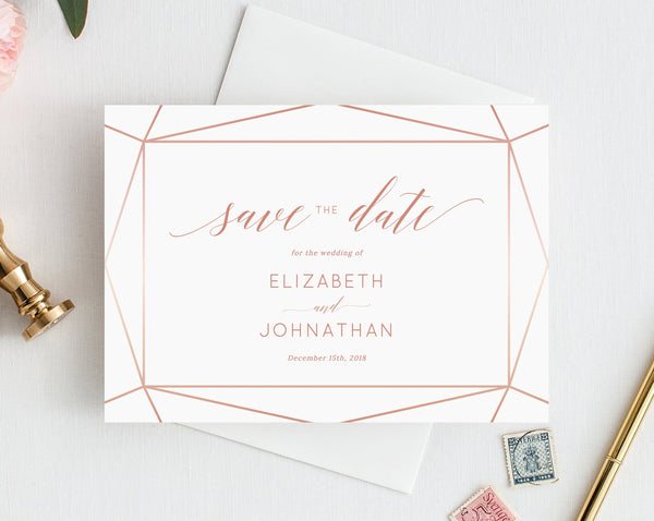 photograph relating to Printable Save the Date known as Preserve the Day Template, Help you save the Day Printable, Help you save the Day Playing cards, Rose Gold, Blush, Bronze, Copper, Templett, W08