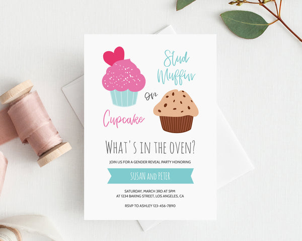 INSTANT DOWNLOAD Gender Reveal Party Invitation, Cupcake or Muffin Gender Reveal Party, Cupcake or Stud Muffin Invitation, Templett
