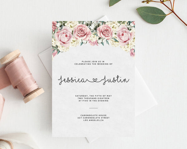 INSTANT DOWNLOAD Wedding Invitation Template, Printable Wedding Invitation, Roses Wedding Invitation Set, Floral Wedding, Templett, W06