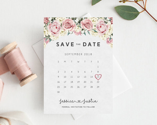 INSTANT DOWNLOAD Save the Date, Save the Date Template, Save the Date Printable, Save the Date Calendar, Wedding Template, Templett, W06