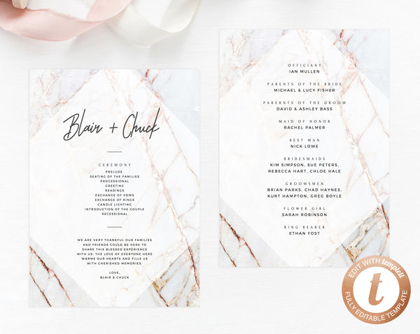 INSTANT DOWNLOAD Wedding Program Template, Printable Wedding Program, Editable Wedding Program, Marble Wedding Programs, Templett, W03