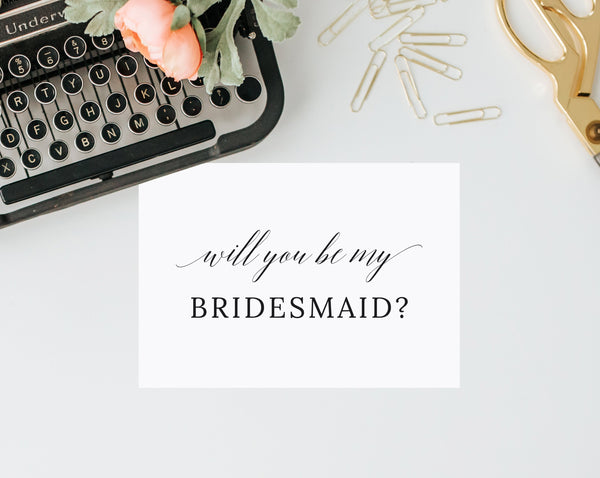 Will You Be My Bridesmaid Card Template, Will You Be My Maid Of Honor Card, Printable Bridesmaid Proposal, Bridal Party Card, Templett, W02