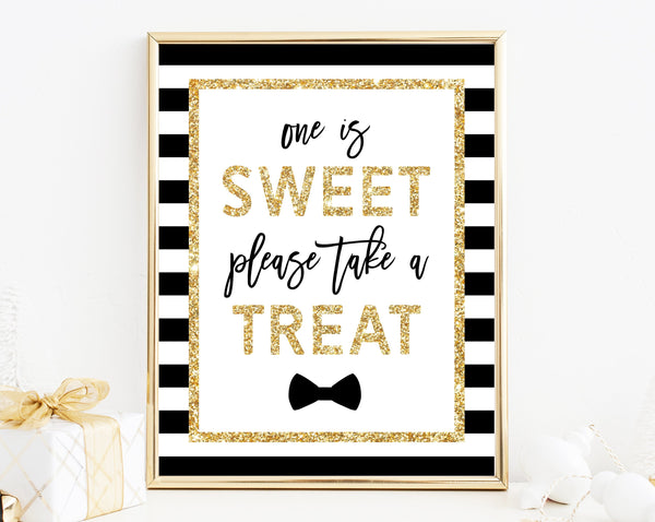 INSTANT DOWNLOAD Mr. Onederful One Is Sweet Please Take A Treat Sign, First Birthday Party Favor Sign, Mr. Onederful Party Favor Sign, B02