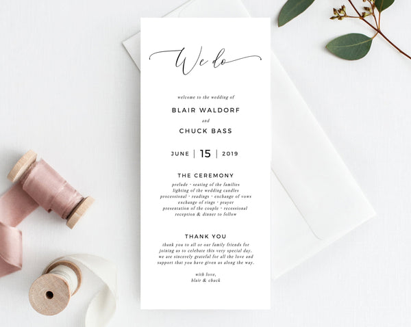 We Do Wedding Program Template, Printable Wedding Program, Simple Wedding Program, Editable Ceremony Programs, Instant, Templett, W15