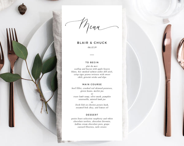 Wedding Menu Template, Printable Menu, Editable Wedding Menu, Modern Wedding Menu, DIY Wedding Menu, Templett, W15