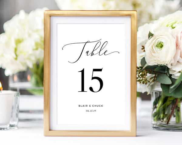 Wedding Table Numbers, Printable Wedding Table Numbers, Table Number Card Template, Modern Calligraphy, DIY, Instant Download, Templett, W15