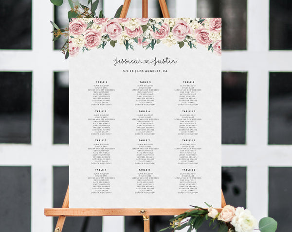 INSTANT DOWNLOAD Wedding Seating Chart, Roses Seating Chart Printable, Wedding Seating Board, Floral Table Sign, Templett, W06