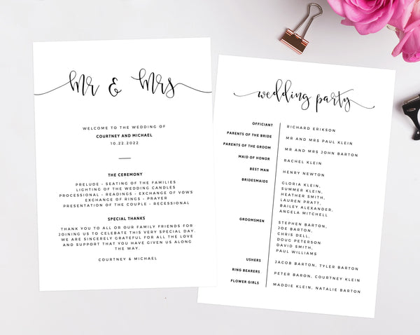 Mr & Mrs Wedding Program Template, Printable Wedding Program, Simple Wedding Program, Editable Ceremony Programs, Instant, Templett W16