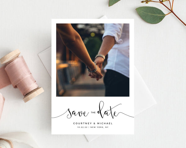 Photo Save the Date Template, Save the Date with Pictures, Printable Save the Date Card, Engagement Photo Save the Dates, Templett, W16