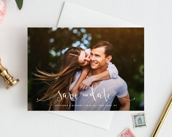 Save the Date Template, Save the Date with Pictures Template, Engagement Photo Save the Date Card, Instant Download, Templett, W16