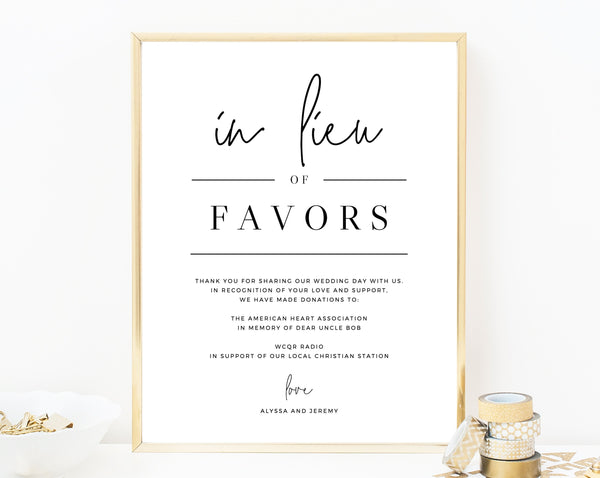 In Lieu of Favors Sign Template, Printable In Lieu of Favors Sign, Editable In Lieu of Favors Sign, Wedding Donation Sign, Templett, W14