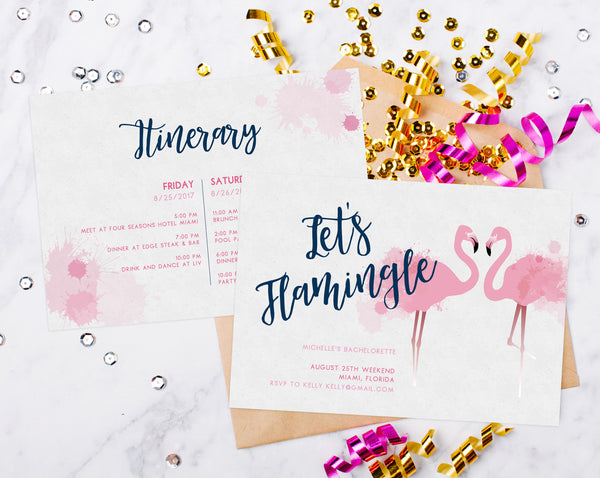 INSTANT DOWNLOAD Bachelorette Invitation Template, Tropical Beach Flamingo Bachelorette Invite, Let's Flamingle, Miami, Templett, PDFBP01