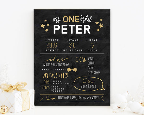 Mr. Onederful Chalkboard Poster Template, Onederful Chalkboard Sign Printable, One-derful Milestone Birthday Sign, Templett, B02