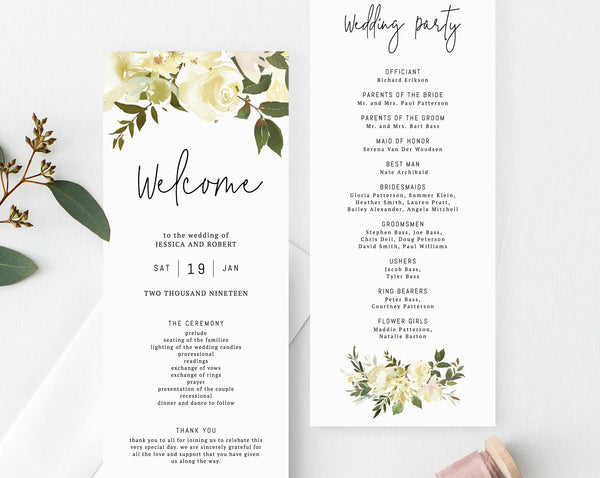 Floral Wedding Program Template, Printable Wedding Program, Greenery Wedding Program, Editable Ceremony Programs, Instant, Templett, W18