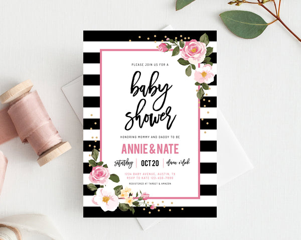 INSTANT DOWNLOAD Baby Shower Invitation Template, Stripes Printable Baby Shower, Black and White, Kate Inspired, Themed, Templett