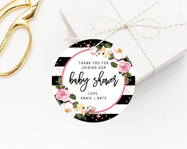 This is a photo of Baby Shower Thank You Tags Printable intended for floral
