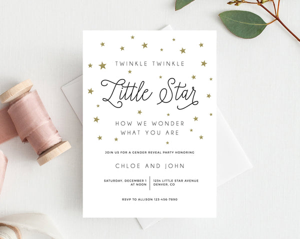 INSTANT DOWNLOAD Gender Reveal Party Invitation, Printable Gender Reveal, Twinkle Twinkle Little Star Gender Reveal Party, Templett, B07