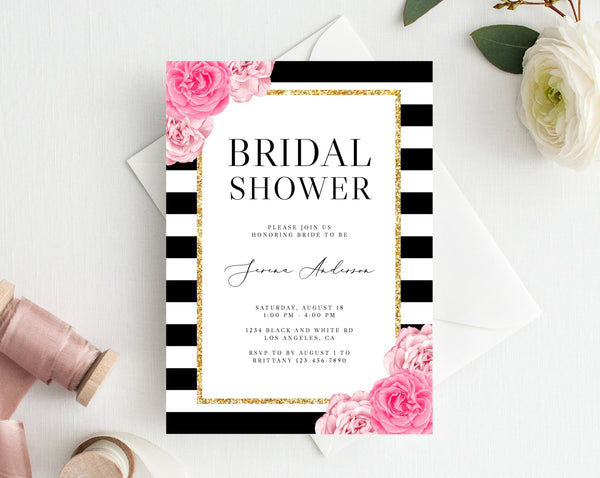 INSTANT DOWNLOAD Bridal Shower Invitation Template, Printable Bridal Shower, Kate Themed Invitation, Black and Gold Bridal Shower, Templett