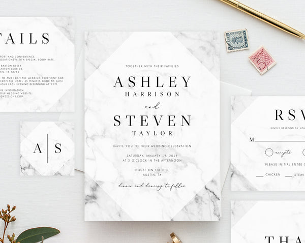 INSTANT DOWNLOAD Wedding Invitation Template, Printable Marble Wedding Invitation, Marble Wedding Invitation Set, Templett, W05