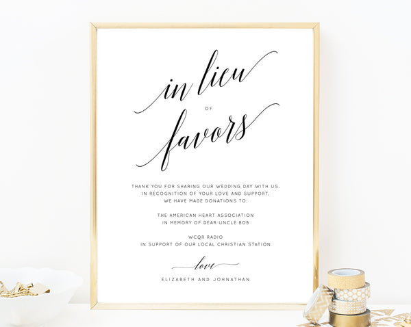 In Lieu of Favors Sign Template, Printable In Lieu of Favors Sign, Editable In Lieu of Favors Sign, Wedding Donation Sign, Templett, W02