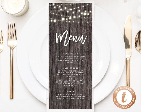 INSTANT DOWNLOAD Wedding Menu Template, Printable Wedding Menu, Editable Wedding Menu, Rustic Wedding Menu, DIY Menu, Templett, W01