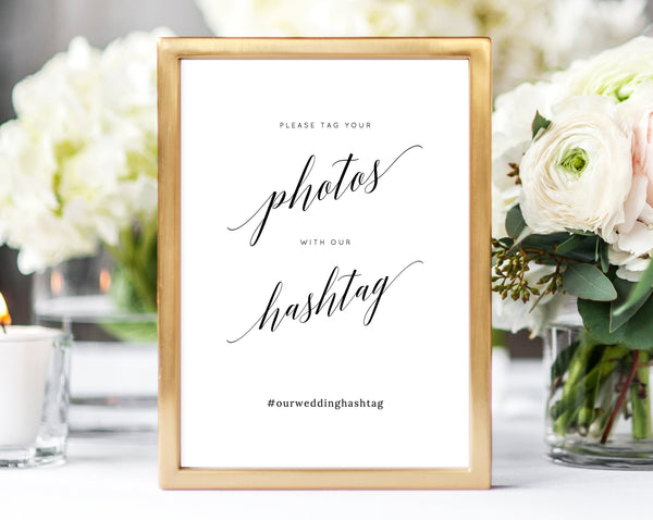 INSTANT DOWNLOAD Wedding Sign Printable, Hashtag Sign, Wedding Hashtag, DIY Printable Wedding Sign, Wedding Photo Tag Sign, Templett, W02