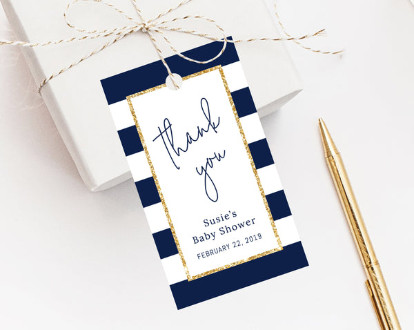 INSTANT DOWNLOAD Favor Tags, Thank You Tag, Stripes Baby Shower Favor Tag, Baby Shower Gift Tag, Favor Label, Navy and Gold, Templett, B03