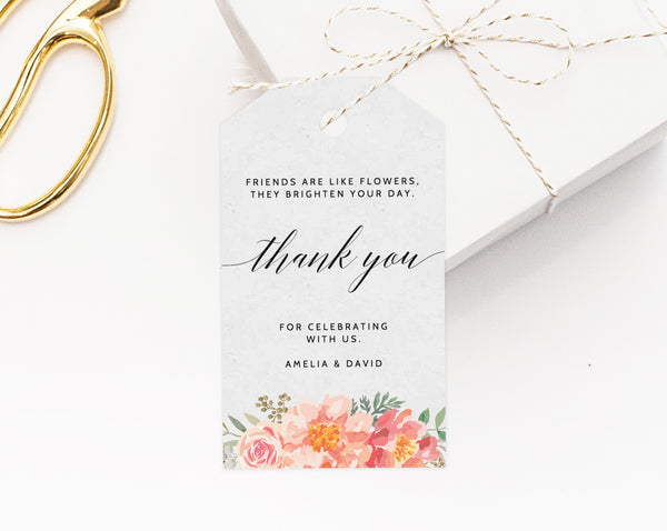 INSTANT DOWNLOAD Favor Tags, Thank You Tag, Floral Favor Tag, Baby Shower  Gift Tag, Favor Label, Favor Tag Printable, Templett