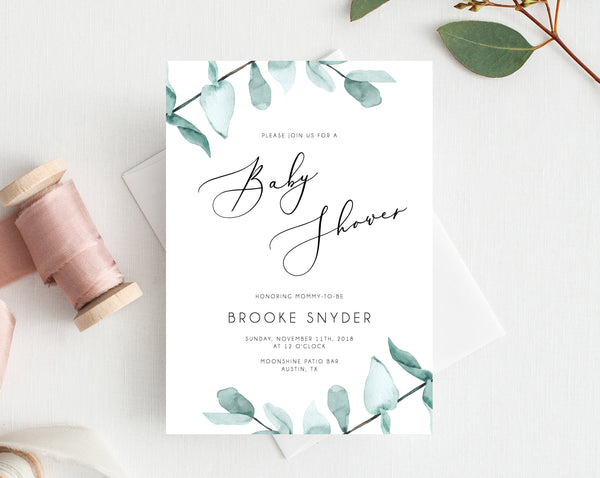 Baby Shower Invitation Template, Printable Baby Shower, Watercolor Greenery Baby Shower Invitation, Eucalyptus Leaves Shower, Templett