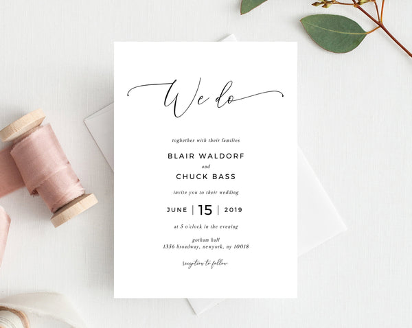 INSTANT DOWNLOAD We Do Wedding Invitation Template, Printable Wedding Invitation Suite, Modern Simple Wedding Invitation Set, Templett, W15